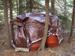 Barrels under tarp